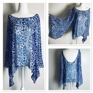 Show Me Your Mumu Blue White Bell Sleeve Blouse